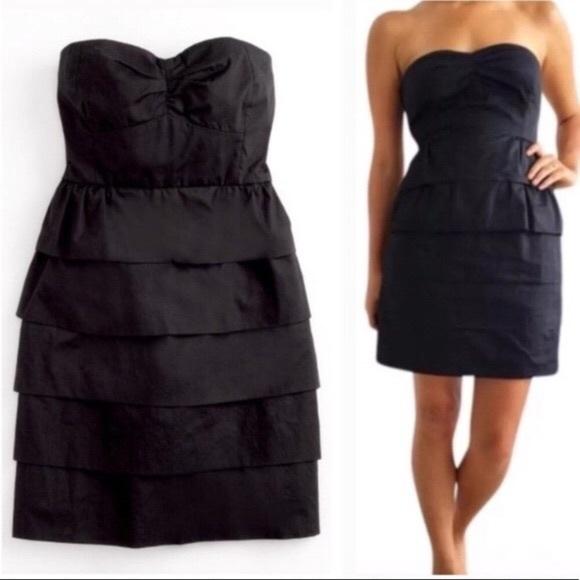 J. Crew Dresses & Skirts - JCrew Poplin Brynn Tiered Dress In Black Size 10